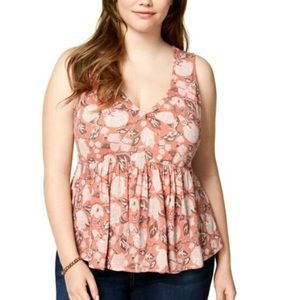 NWT Lucky Brand floral peplum sleeveless top